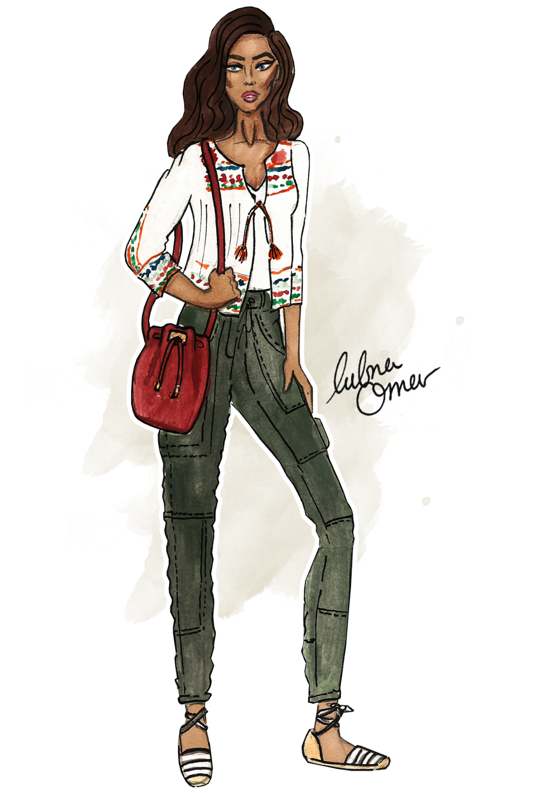 back to school outfit inspiration shades of fall illustration by lubna omar