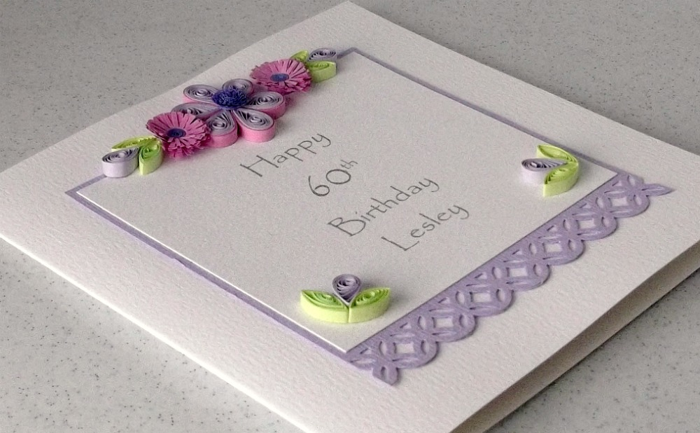 Paper Daisy Cards Quilled 60th birthday card