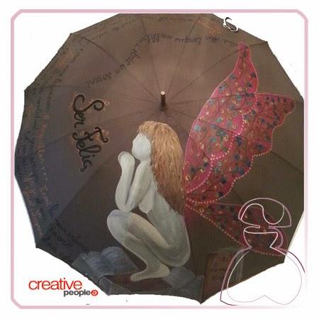 Paraguas pintado a mano modelo Hada de los Libros por Sylvia Lopez Morant
