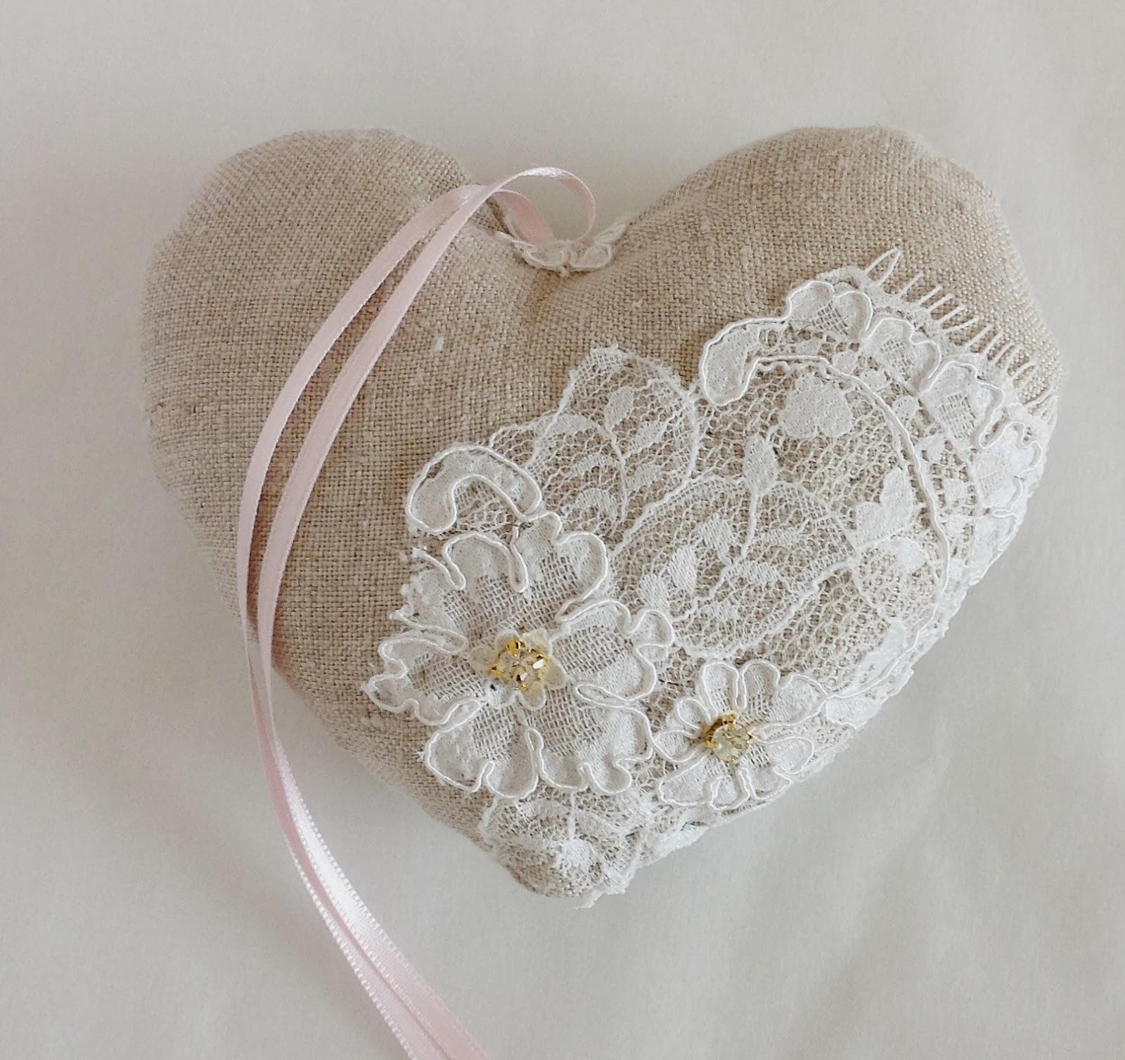 heart shaped ring bearer pillow