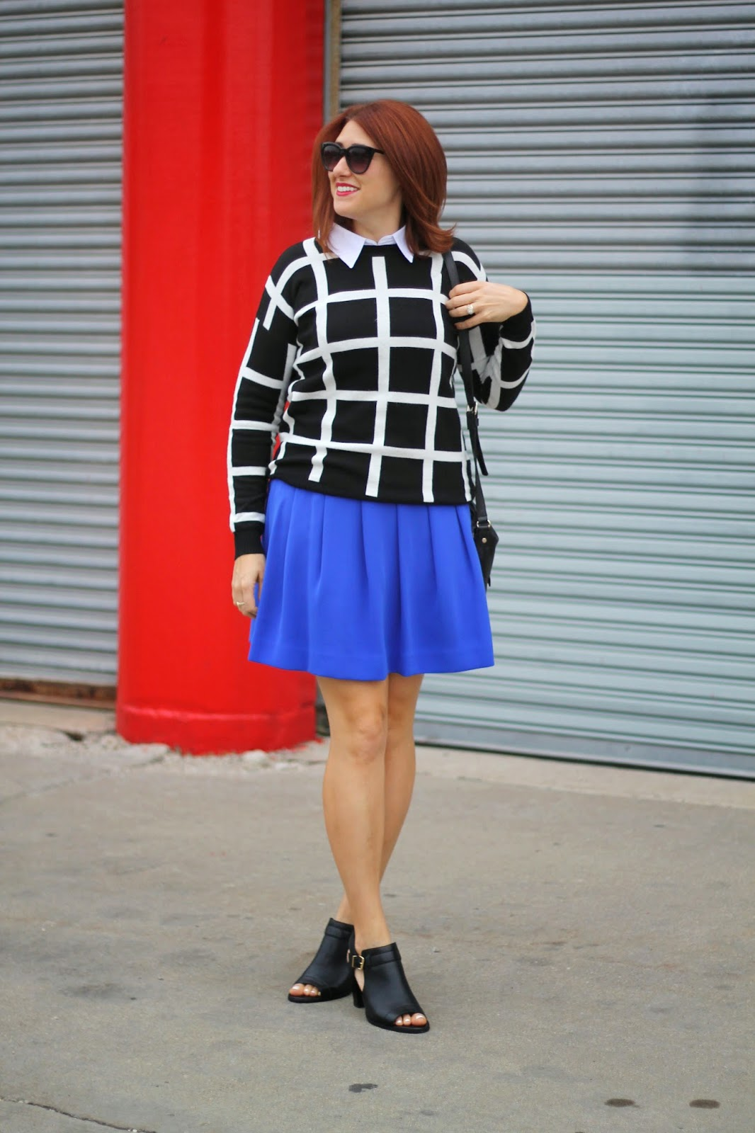 black, white, sweater, cobalt, skirt, j., crew