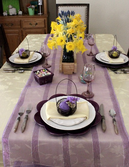 Lavender & Yellow Tablescape for Easter