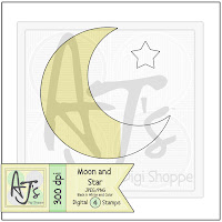 Moon and Star Digital Stamp