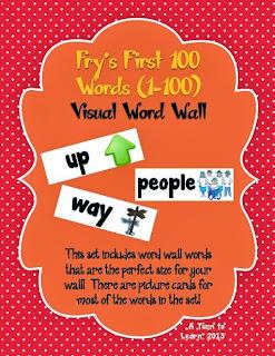 http://www.teacherspayteachers.com/Product/Visual-Word-Wall-Cards-Frys-First-100-Words-838638