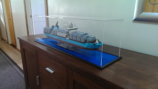 Lego Maersk Container Ship in a Display Case