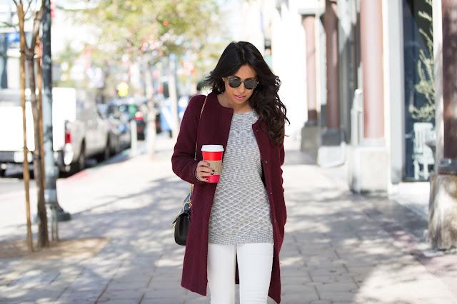 winter white denim, grey boot outfit ideas, bb dakota jacket, sam edleman boots