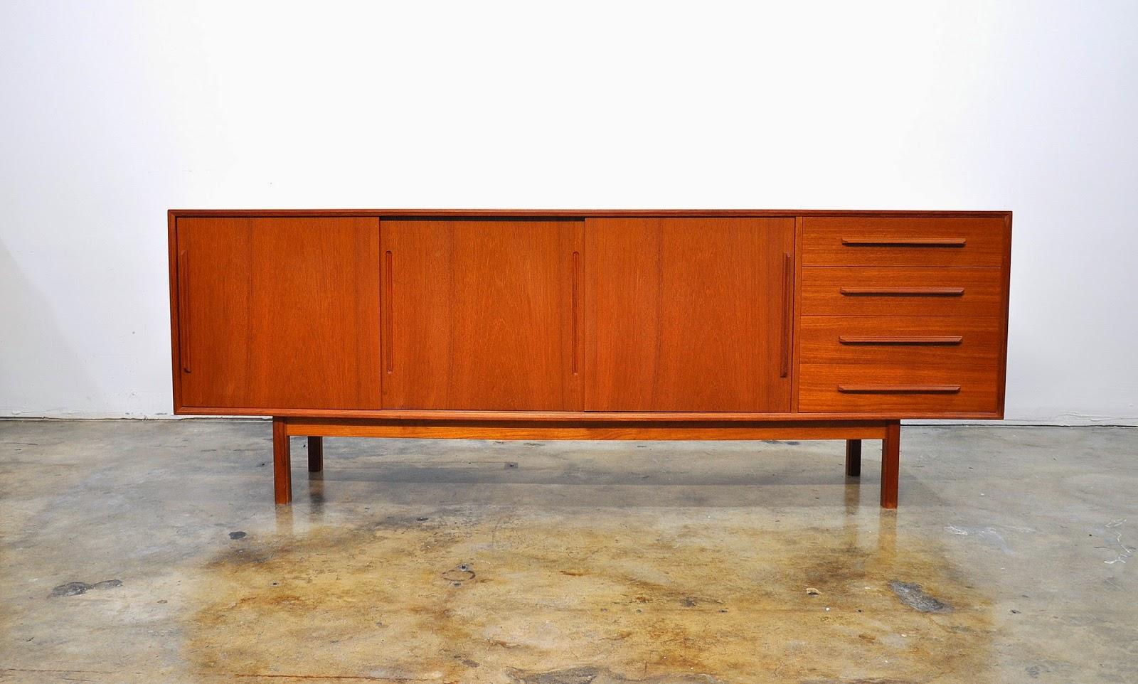 Credenza Danish Modern : Select modern dyrlund teak credenza bar sideboard buffet with