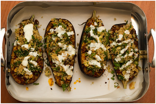 A photograph of Aubergines with Chermoula, Bulgar and Yoghurt.
