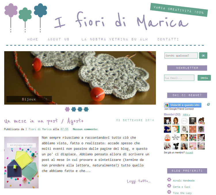 Blog Design & Branding for 'I fiori di Marica'
