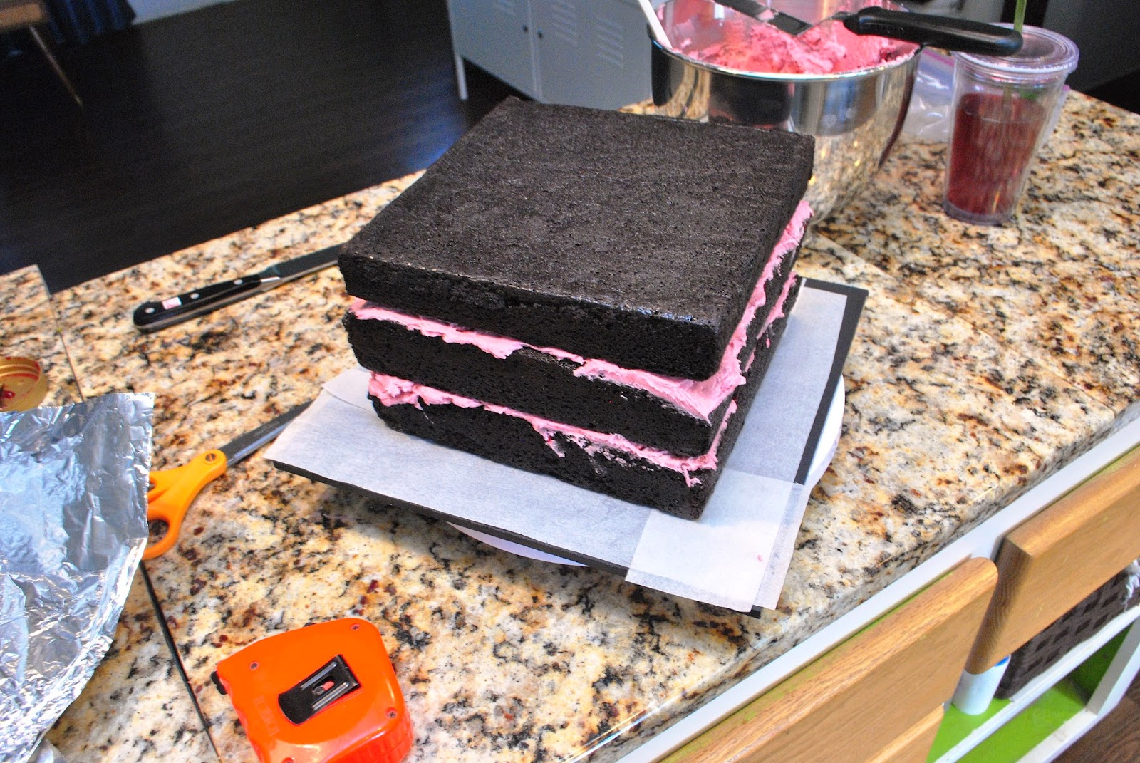 "assembling a 9"" square chocolate stout layer cake"