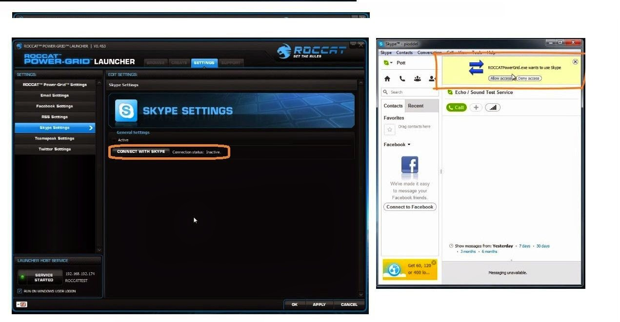 RocCat Power-Grid|Skype configurações