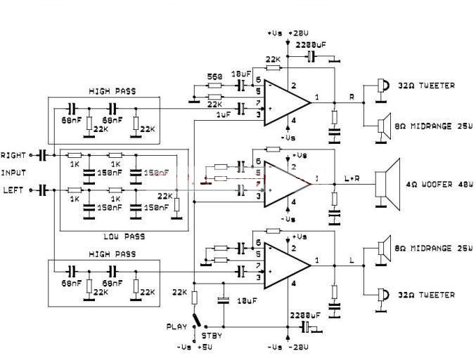Tda2052 Active Audio System Electronic Circuits Diagram