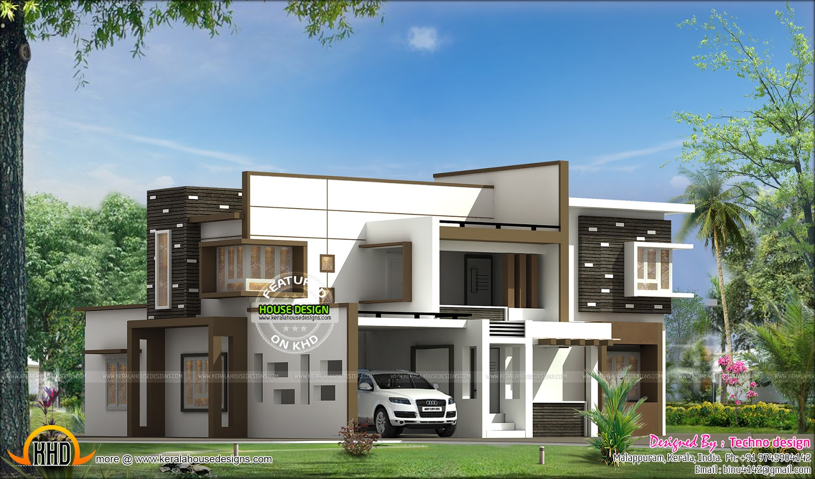 Flat Roof Modern 1870 Sq Ft House Kerala Home Design And