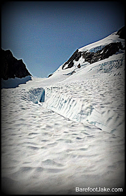 blue glacier crevasse