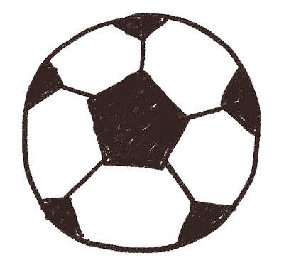 サッカーボールのイラスト(スポーツ器具) モノクロ線画