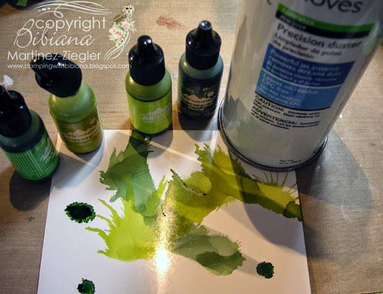 step 1 Zen card 50 shades of green alcohol inks