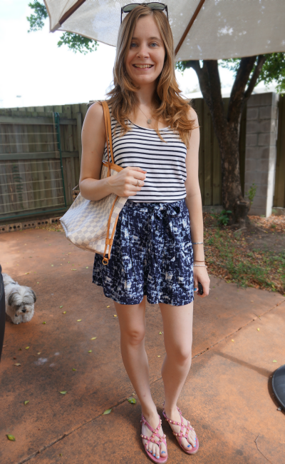 Away From Blue: Printed Shorts and Striped Tops