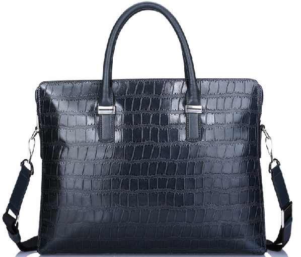 Genuine Crocodile Leather Shoulder Briefcase Mexican Blue Bag