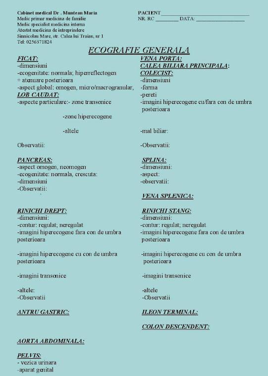Fisa ecografica a Cabinetului medical Doctor Muntean Maria