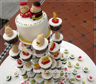 Picture of Penang Cakes - Evadis Cupcakes - Piggies Wedding Cupcakes Arrangement Top View