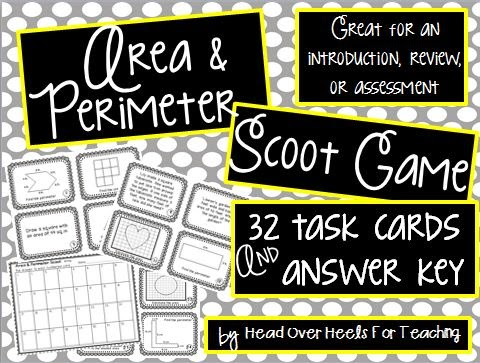 http://www.teacherspayteachers.com/Product/Area-Perimeter-Scoot-Game-Task-Cards-1184733