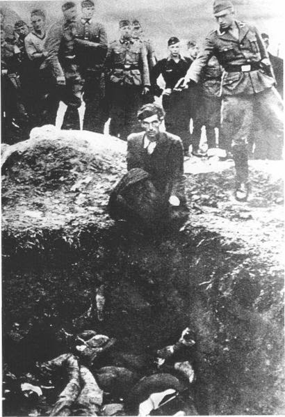 A soldier is about to shoot The Last Jew in Vinnitsa