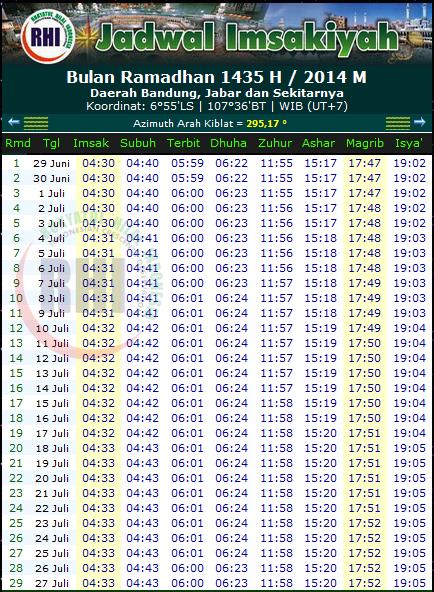 jadwal imsakiyah 2014