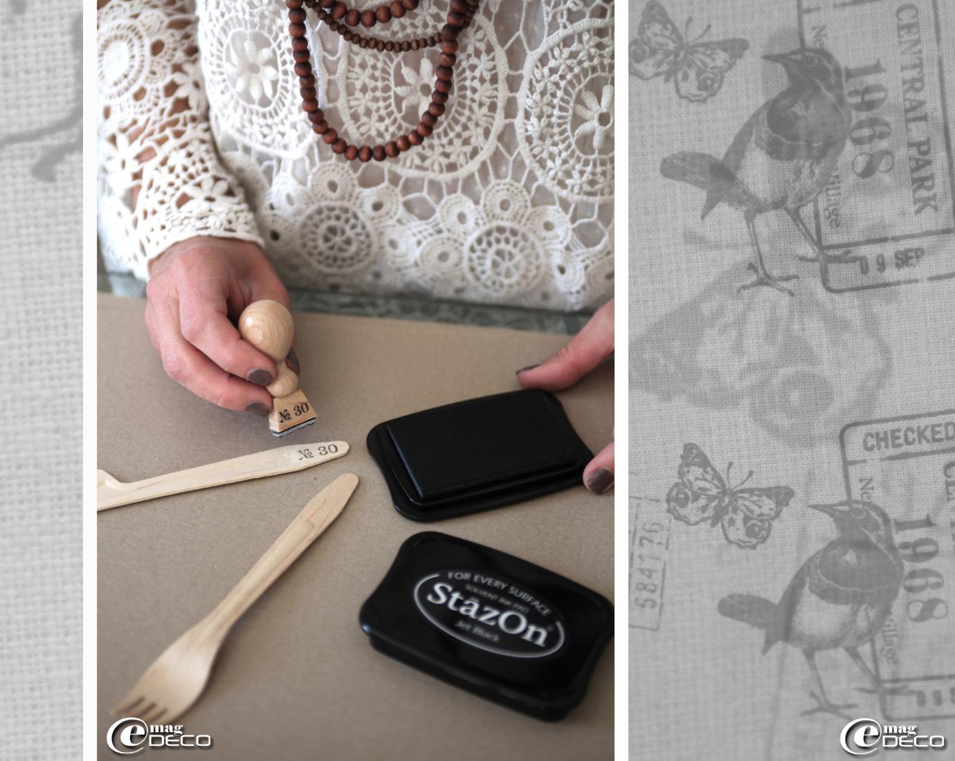 Réalisation de couverts numérotés avec un tampon encreur