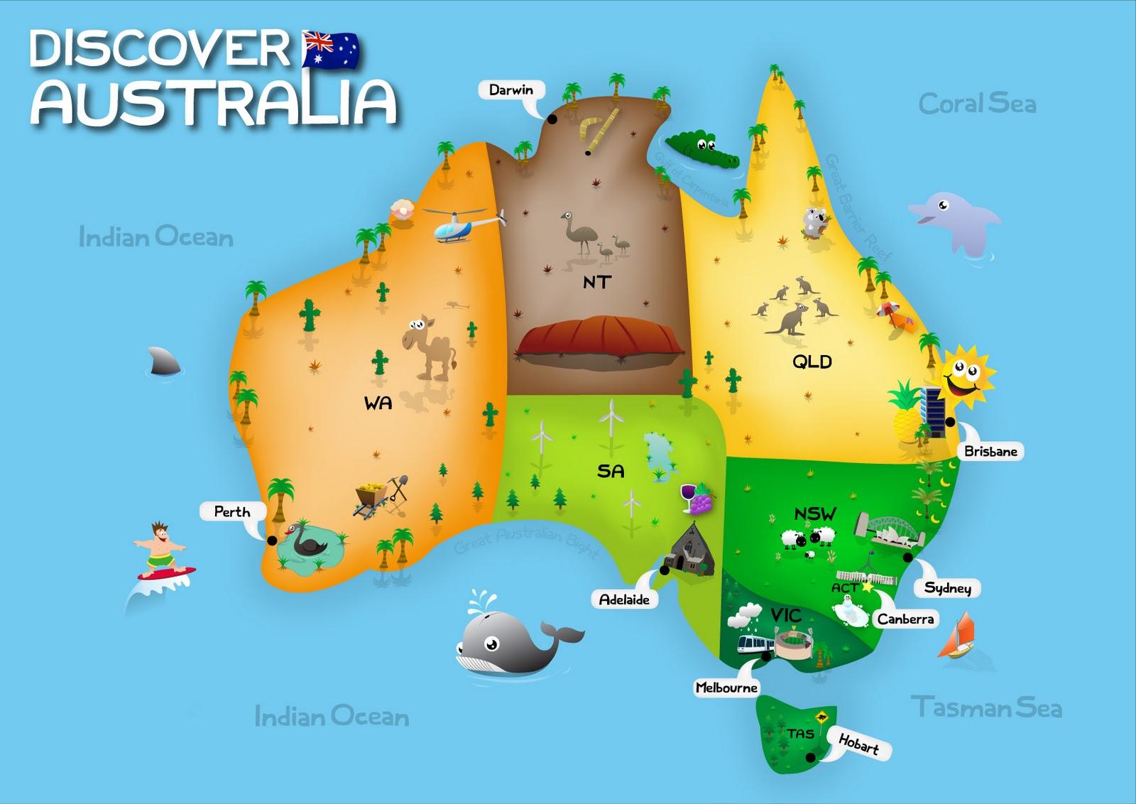 childrens map of australia