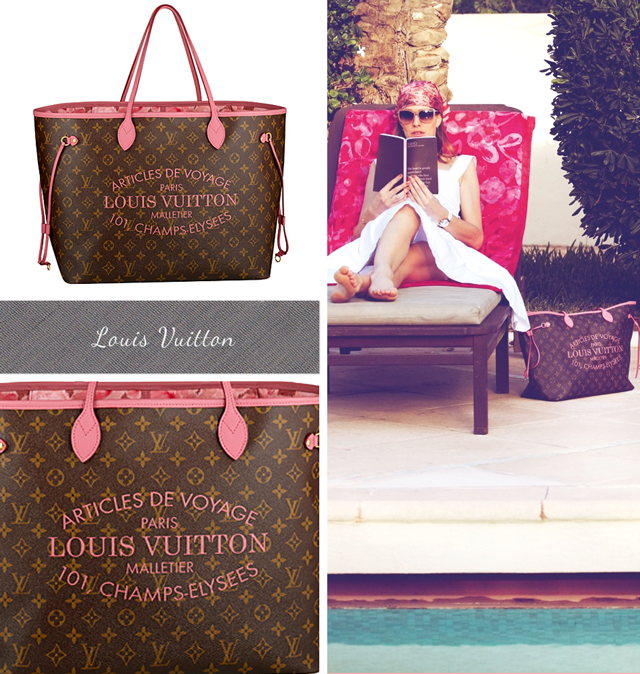 Louis Vuitton Monogram Neverfull with pale pink handles, pink logo and floral lining. Summer 2013 bags
