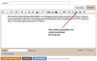 Cara Membuat Blockquote Secara Otomatis Di Posting Blog