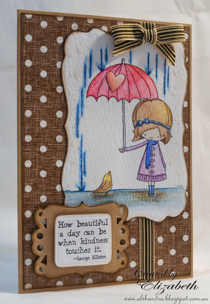 Elizabeth Whisson, Annabelle stamps, a beautiful day, distress ink, walnut stain, watrecolour, watercolour paper, kraft, spellbinders labels seventeen, fancy framed tags two, watercolor,