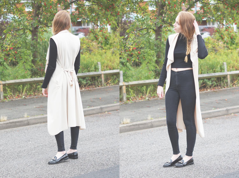 ecru sleeveless waterfall coat
