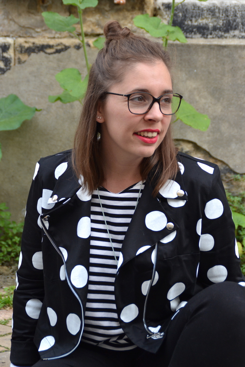 jean noir et mariniére H&M, perfecto à pois Wear lemonade, ballerine Plumy Isabel Marant