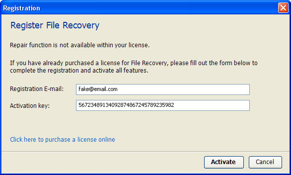 serial number recover my files