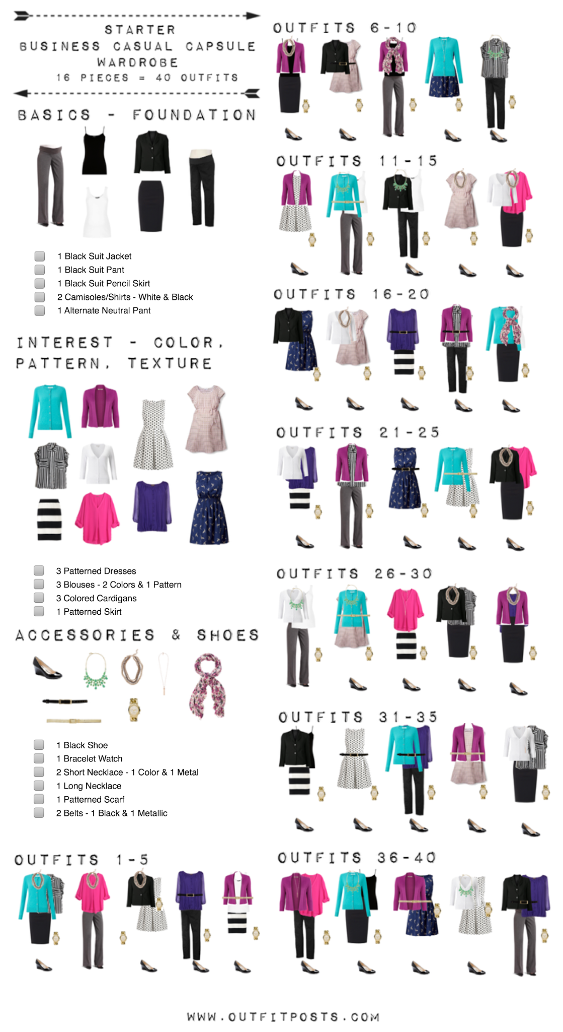 starter business casual capsule wardrobe checklist outfit posts. Black Bedroom Furniture Sets. Home Design Ideas