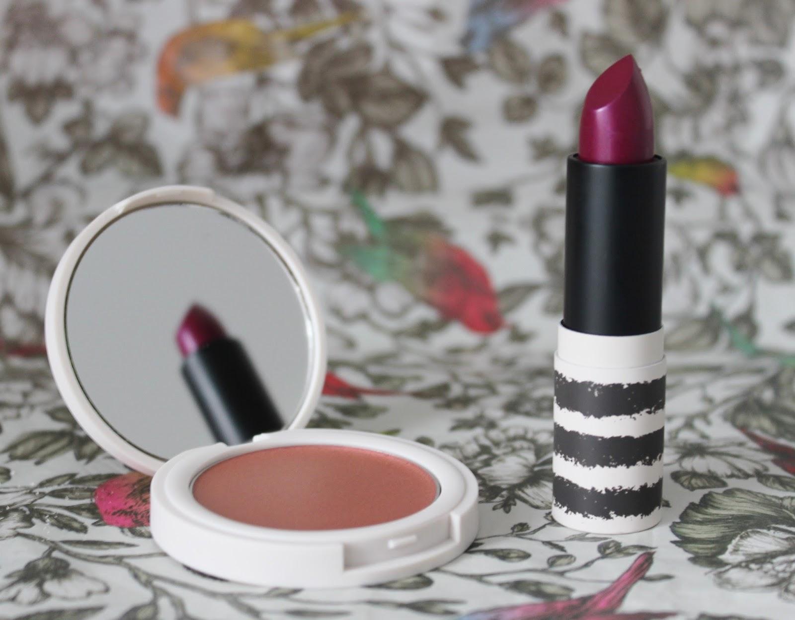 Topshop metallic makeup - Drive lipstick and pulse blusher