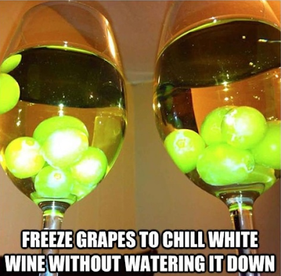 freeze grapes to chill white wine