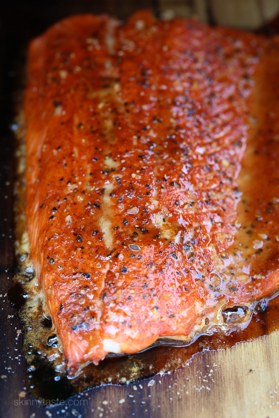 Cedar Plank Spice-Rubbed Salmon –topped with brown sugar and spices