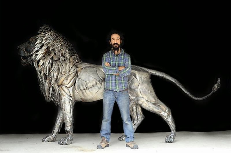 Lion Made From 4000 Steel Plates
