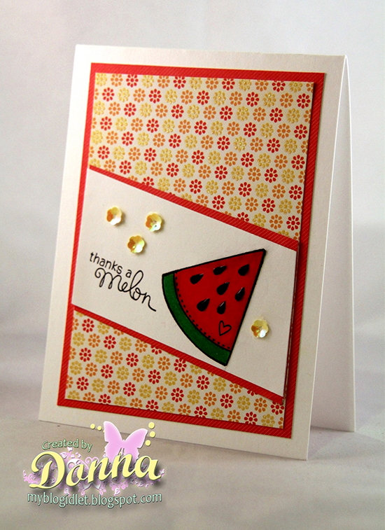 Melon thank you card by Donna Idlet for Newton's Nook Designs | Sweet Summer Stamp set