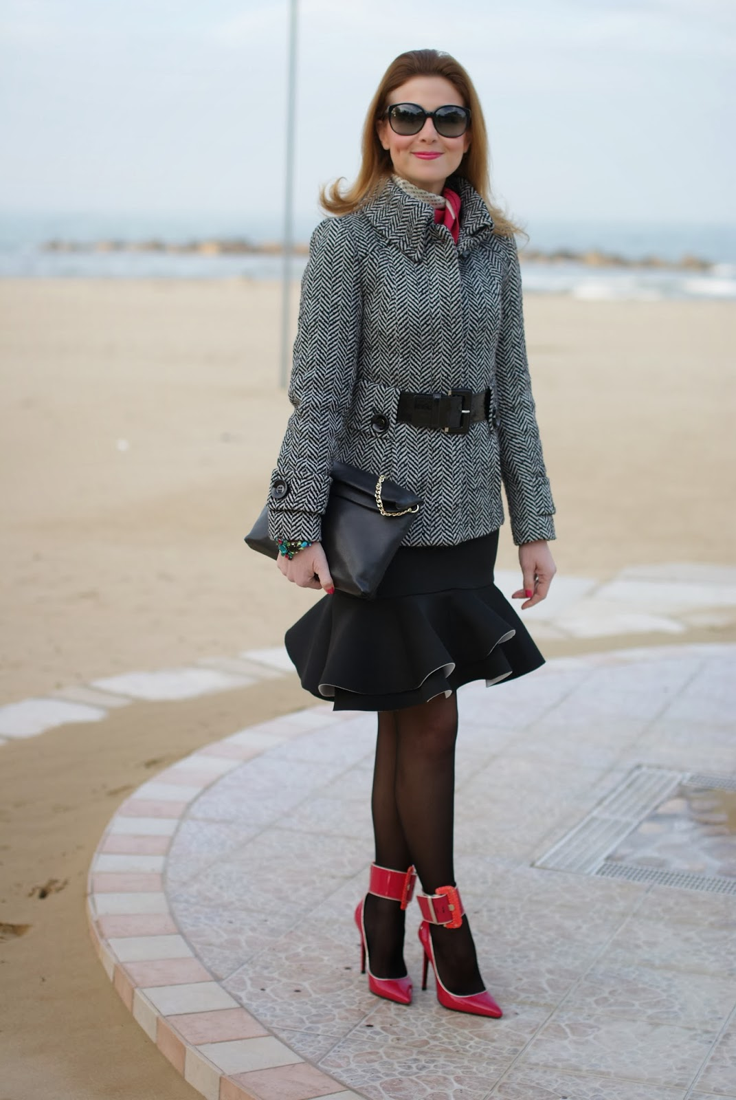 scuba peplum hem skirt, Cesare Paciotti fuchsia pumps, Fashion and Cookies, fashion blogger