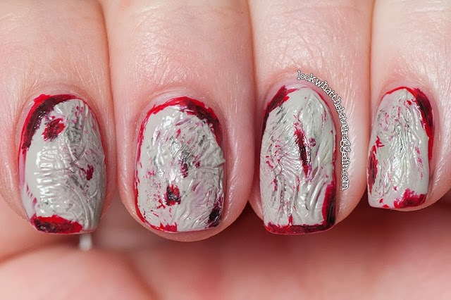 zombie halloween nails spooky manicure blood Illamasqua Throb Ruthless Boosh OPI Skull and Glossbones Stranger Tides skull