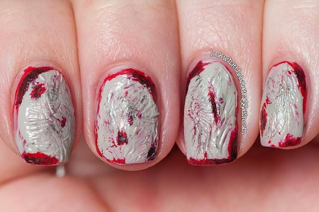 zombie halloween nails spooky manicure blood Illamasqua Throb Ruthless Boosh OPI Skull and Glossbones Stranger Tides skull