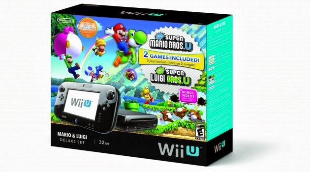 Image of Mario & Luigi Deluxe Set, which includes a 32GB Wii U and a single disc containing both New Super Mario Bros. U and New Super Luigi U
