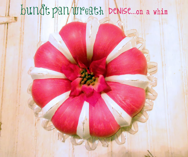 Bundt Pan Candy Cane wreath via http://deniseonawhim.blogspot.com