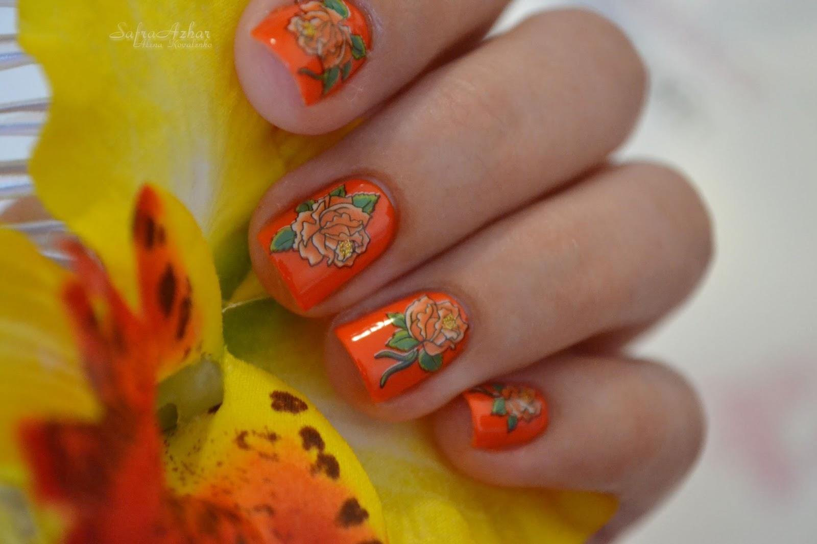 Маникюр оранжевый с рисунком фото