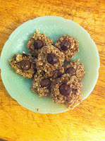 Plate of Healthy Oat and Banana Cookies with Chocolate Chips