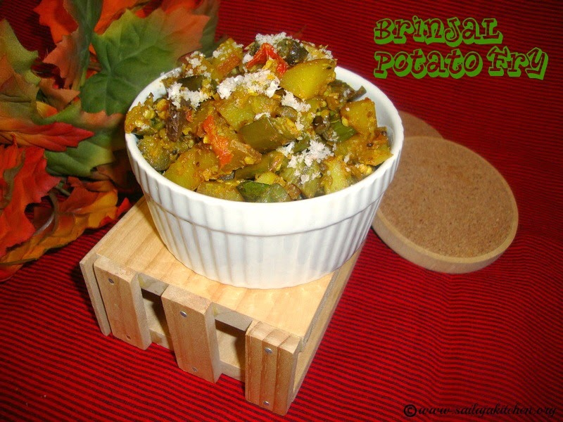 images for Brinjal Potato Fry / Vankaya Bangaladumpa Vepudu / Aloo Baingan Ki Sabzi / Eggplant Potato Curry Recipe