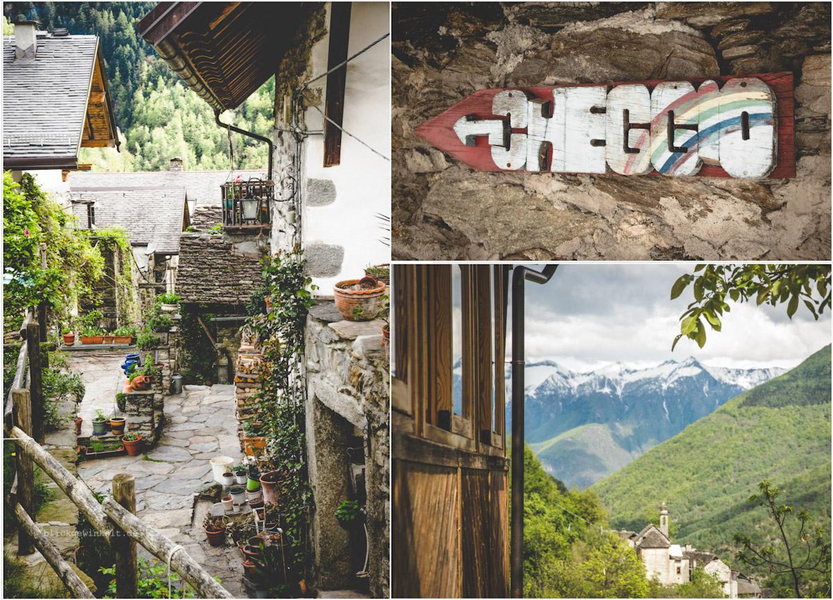 Dorfansichten von Cheggio, dem Künstlerdorf im Piemonte